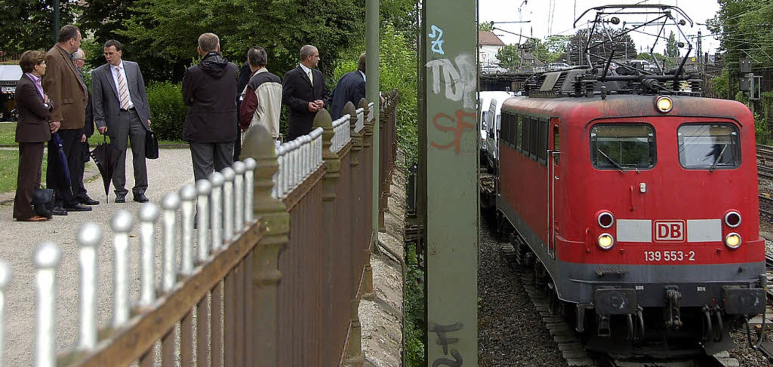 Ortstermin mit Güterzuglärm: Verkehrse...  CDU-Landtagsfraktion am Bahngraben.   | Foto: Seller