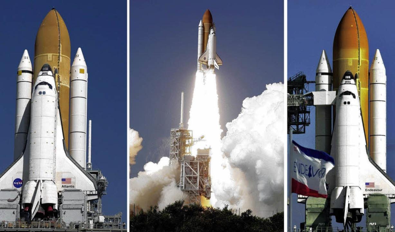 Atlantis, Discovery und Endeavour (v. l.) fliegen nur noch bis 2010.    | Foto: dpa