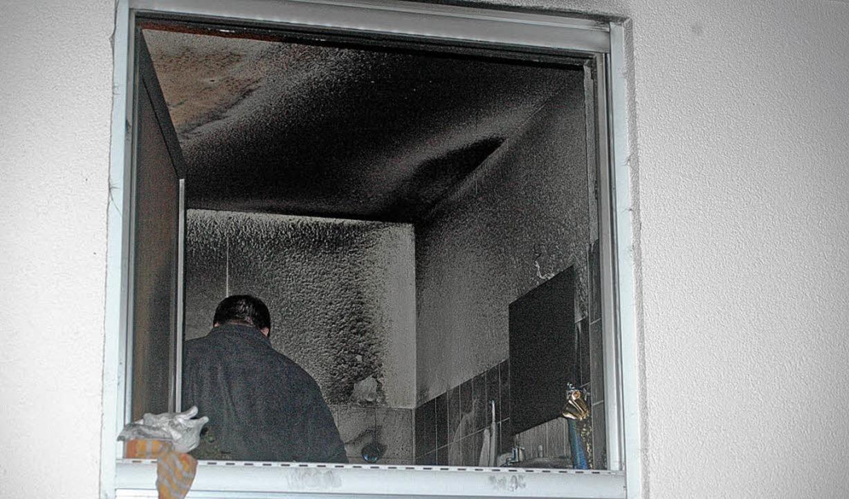 Das Badezimmer nach dem Brand.    Foto: Fred Thelen
