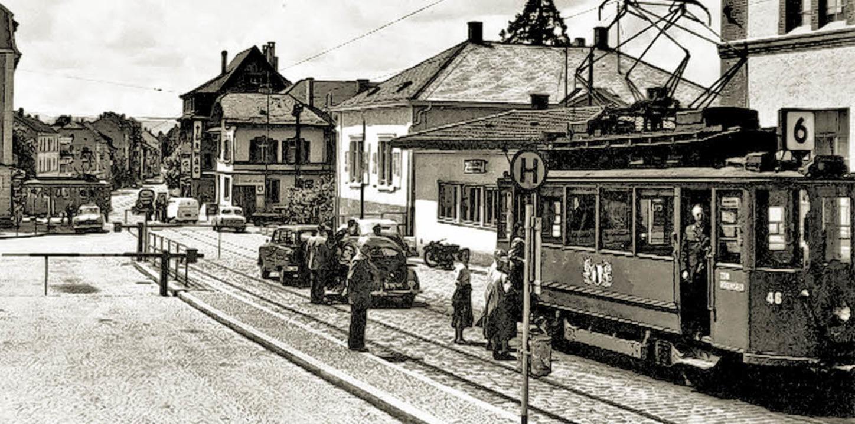Zwischen 1919 und 1967 fuhr die Riehen...rgang war eine Haltestelle (im Foto).   | Foto: Johannes Wenk-Madoery