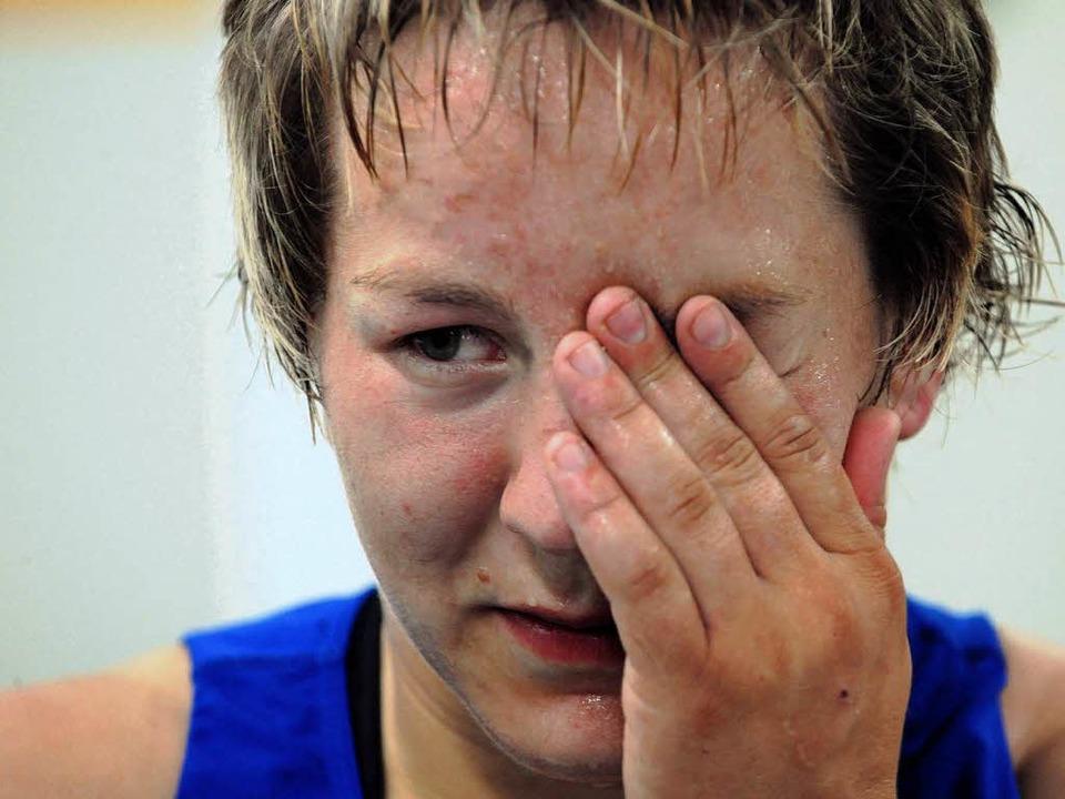 Trauriger Abschied: Anita Schätzle sagt dem Ringen adieu  | Foto: dpa
