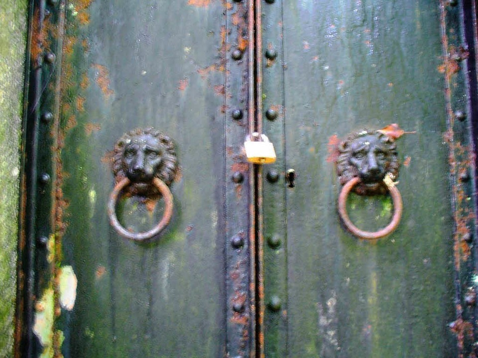 Kunstvolle Löwenköpfe an der Eingangstür zur Lutherbrunnen-Quelle  | Foto: privat