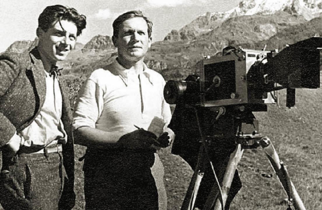Sepp Allgeier (Bildmitte) zusammen mit...i Bergaufnahmen Mitte der 30er Jahre.     Foto: Privat