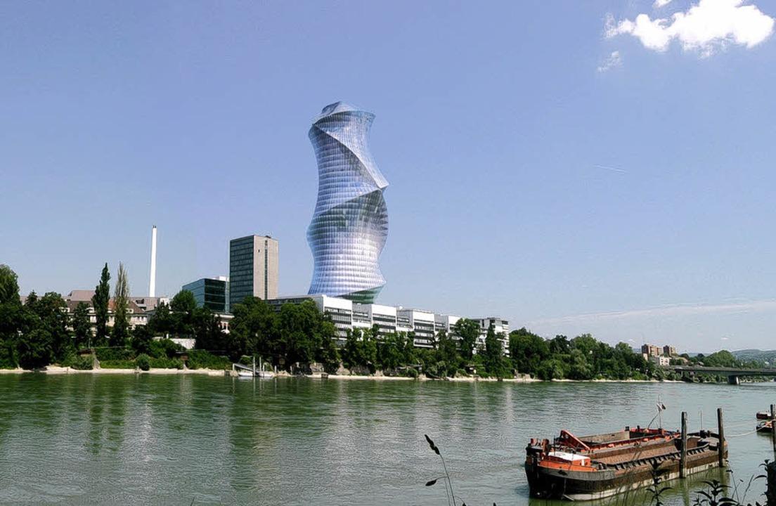 Schöne Aussichten:  So könnte der neue...ertig sein und 154 Meter hoch werden.   | Foto: BZ-Montage
