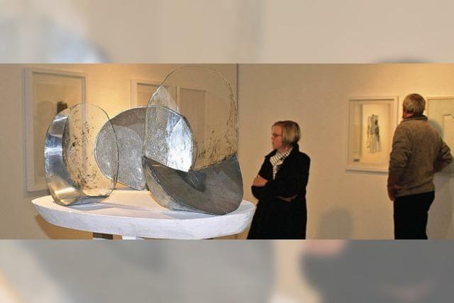Skulpturen und Bilder mit ihrer reflektierten Doppelung