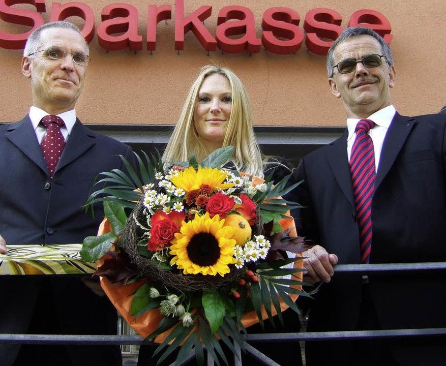 Nicole Becker ist Deutsche Sparkassenm...Personalratsvorsitzender Bernd Bauer.   | Foto: SUSANNE MÜLLER