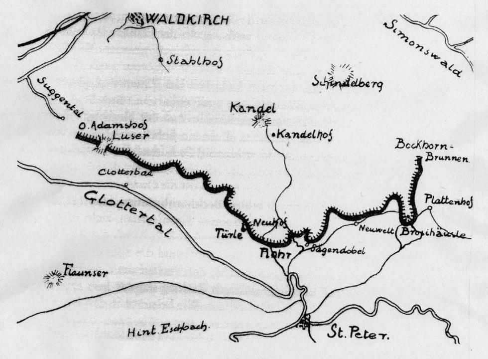 Urgraben am Kandel; Quelle: Rund um de...re Volksbank Waldkirch, 1906 bis 1981)  | Foto: Repro: Rund um den Kandel