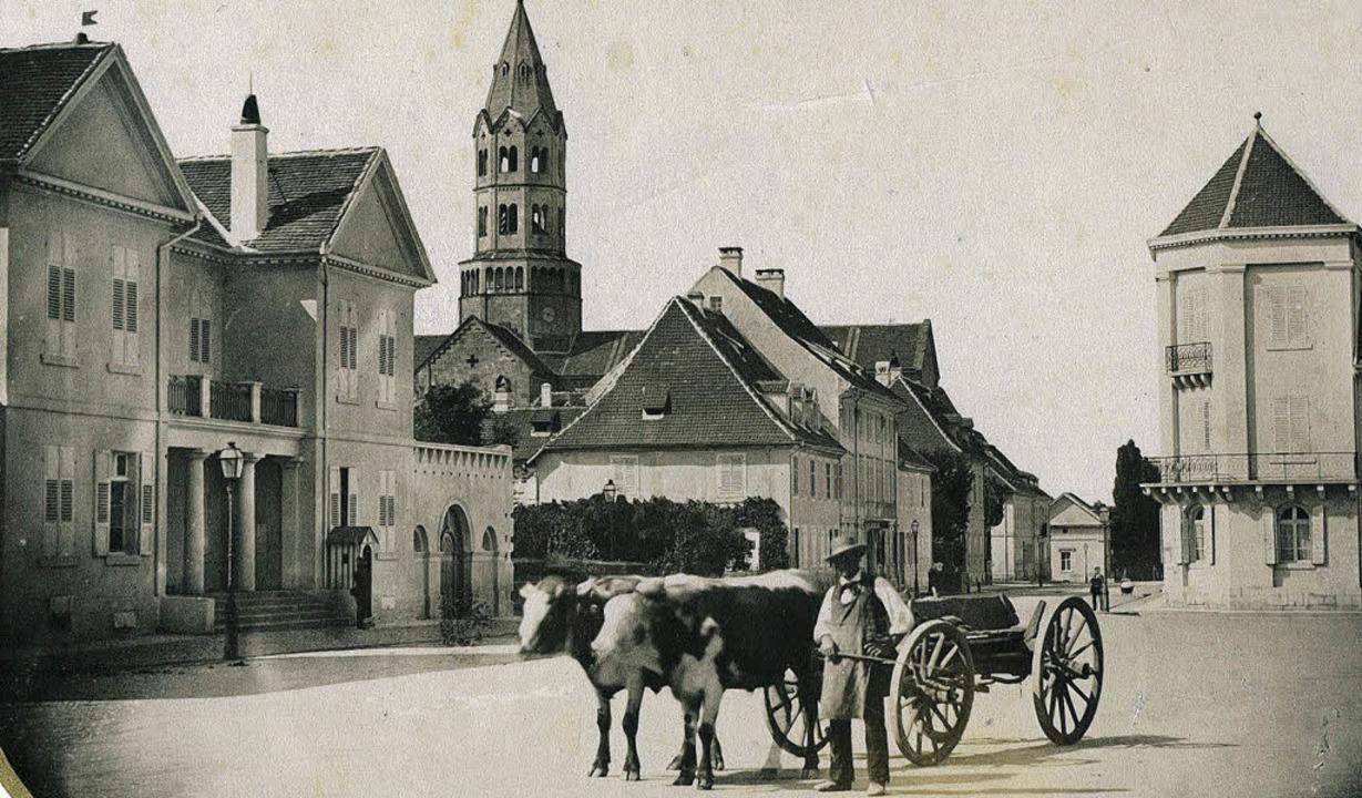 Der Platz vor der Karlskaserne, heute ...b Theodor Hase aus der Zeit  um 1860.   | Foto: Archiv Kalchthaler