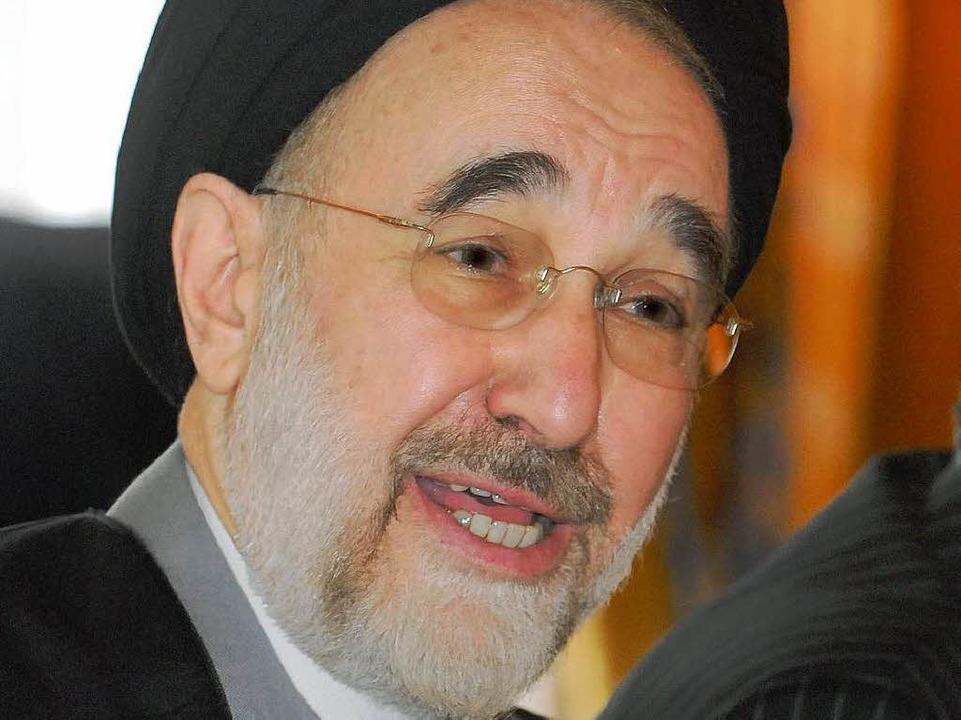 Mohammed Khatami weilte am Dienstag ve...Einladung der Universität in Freiburg.  | Foto: Michael Bamberger