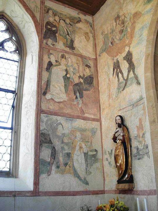 Farbiges Innenleben: Die Fresken in de...astik stammt aus dem Spätmittelalter.   | Foto: Freya Pietsch