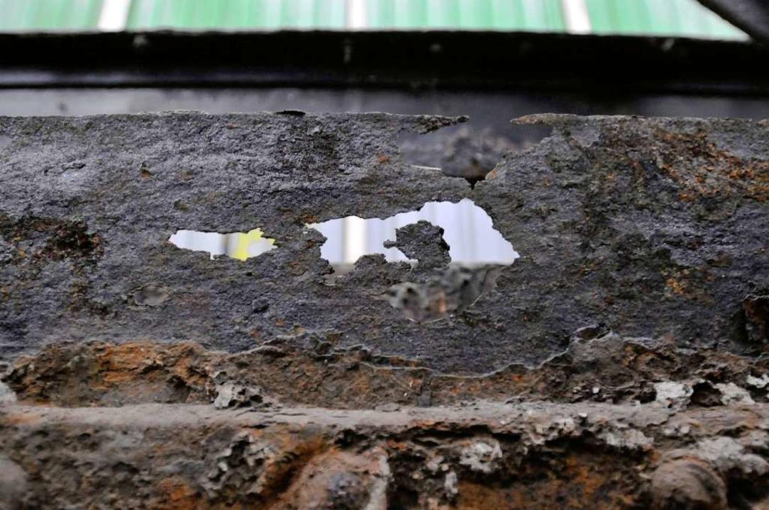 Rostige Angelegenheit: Der Stahl zeigt Auflösungserscheinungen.    Foto: Ingo Schneider