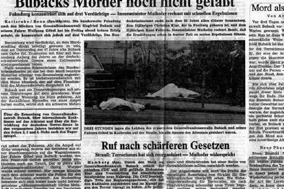 Die Ermordung von Siegfried Buback durch Mitglieder der Rote Armee Fraktion wird gemeinhin als Auftakt des Terrorjahres 1977 betrachtet. (Foto: bz)