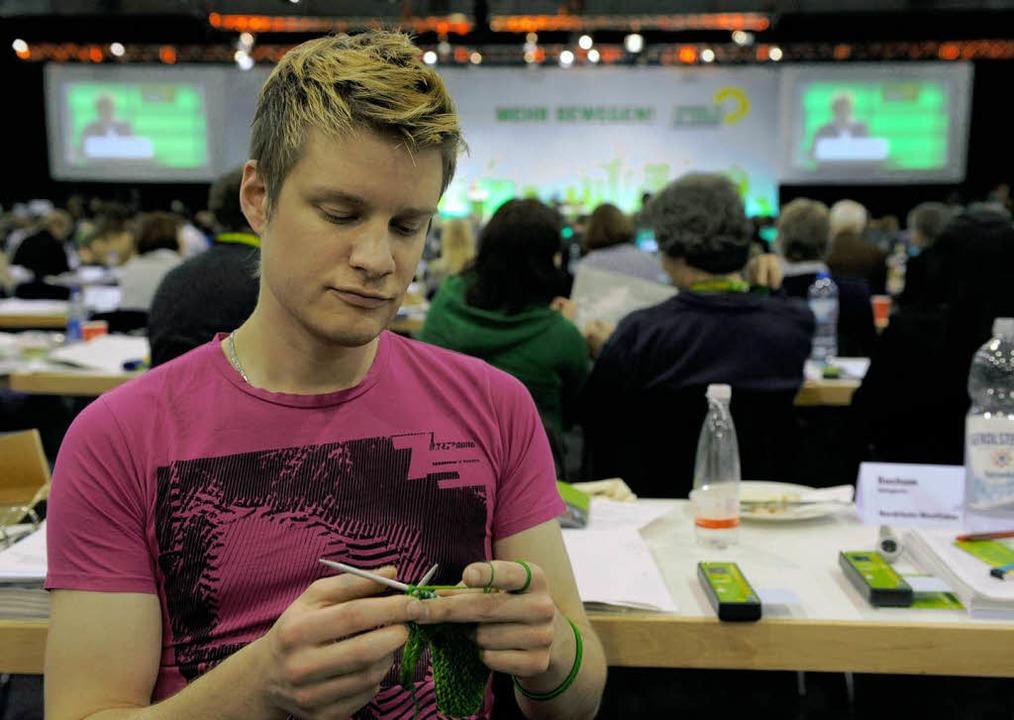 Selbst auf dem Grünen-Parteitag in Erfurt wurde gestrickt.