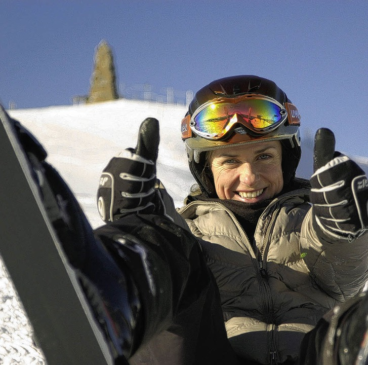 Die mehrfache Weltcupsiegerin im Gleit...e dabei auch erstmalig das Skifahren.   | Foto: Thomas Latzel
