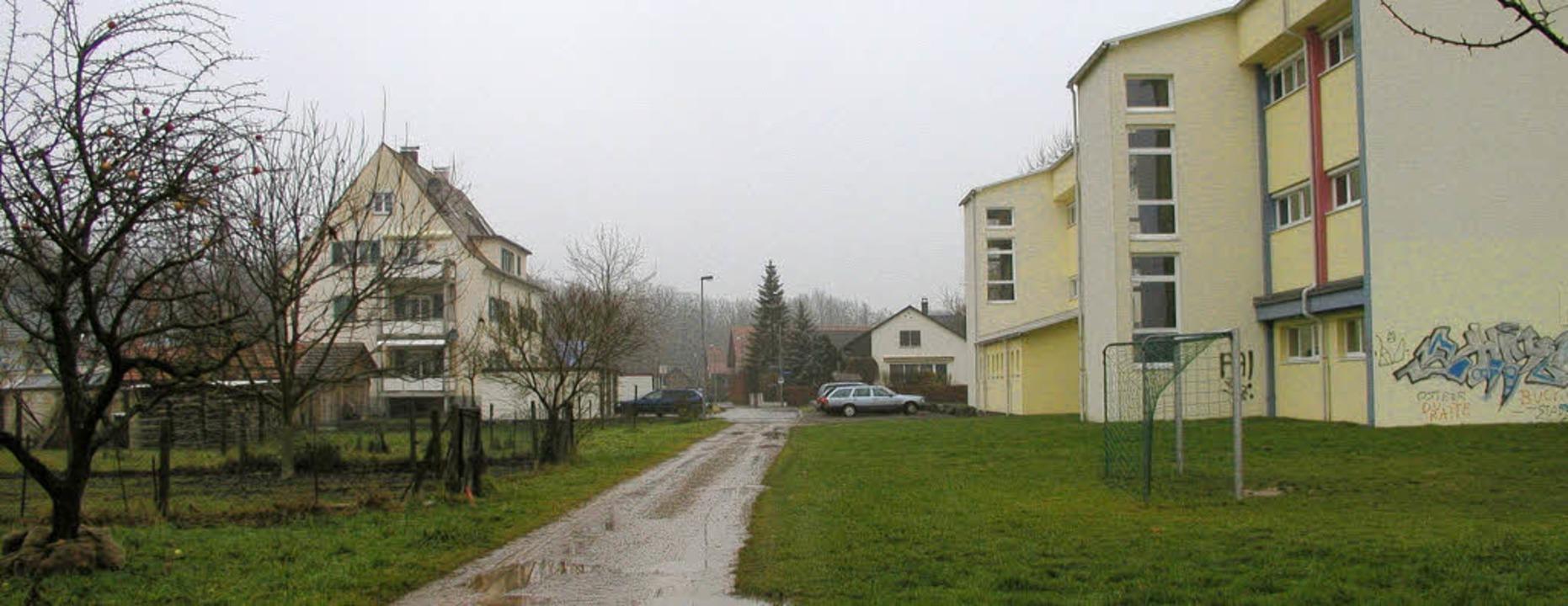 Für den neuen Kindergarten hinter der ... Gartengrundstücken (links) entstehen.  | Foto: Ilona Hüge