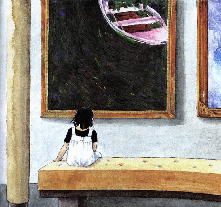 Das Mädchen Linnéa vor einem Monet: Illustration von Lena Anderson.     Foto: bz