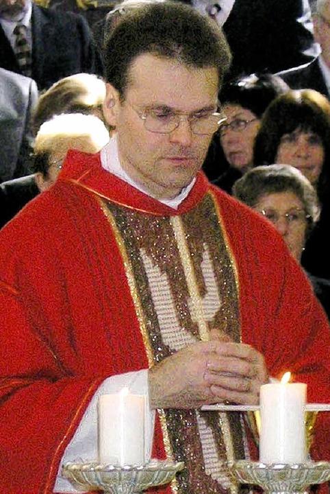 Pfarrer Huber bei der Amtseinführung im Oktober    Foto: haberer