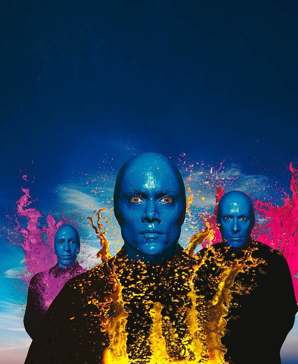 Blaue Eierköpfe: die drei Darsteller der Blue Man Group.   | Foto: bz