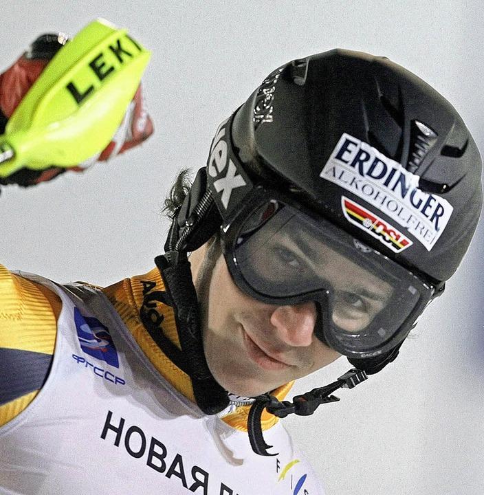 Felix Neureuther bei seinem Sieg in Moskau   | Foto: DPA