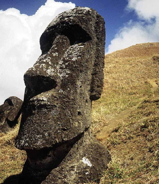 Bis zu 20 Meter hoch sind die Moais, d...co zum Weltkulturerbe erklärt wurden.     Foto: dpa