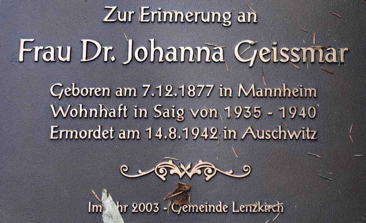 Johanna Geismar und ihr Schicksal  | Foto: Manfred-G. Haderer