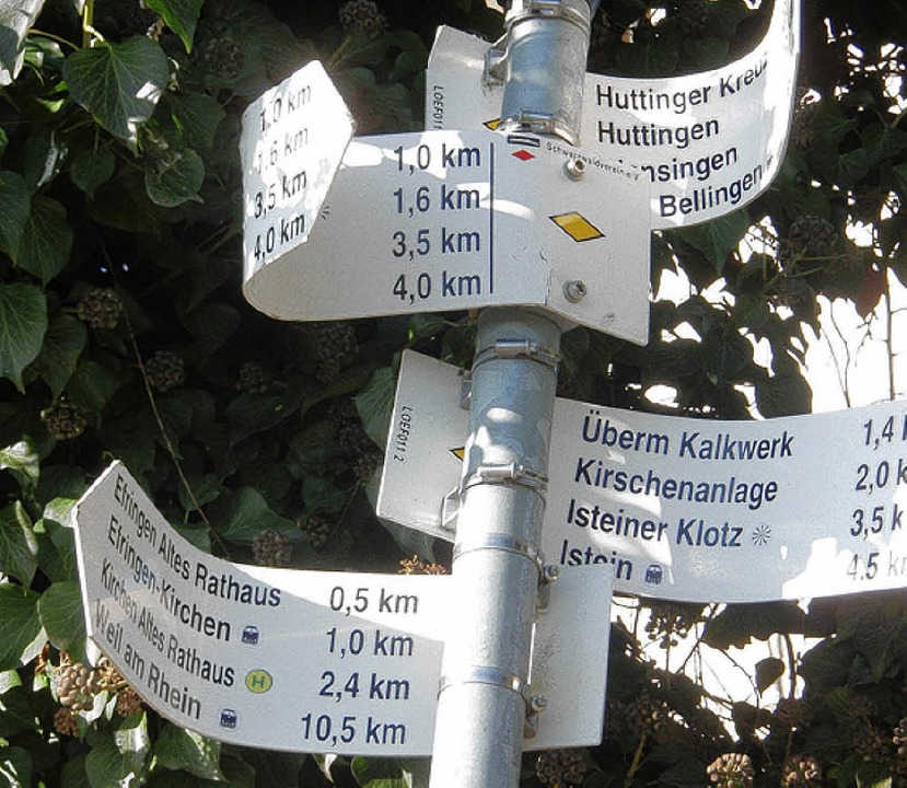 Eigentlich sollen Wanderer sich an den  Schildern orientieren.    Foto: BZ