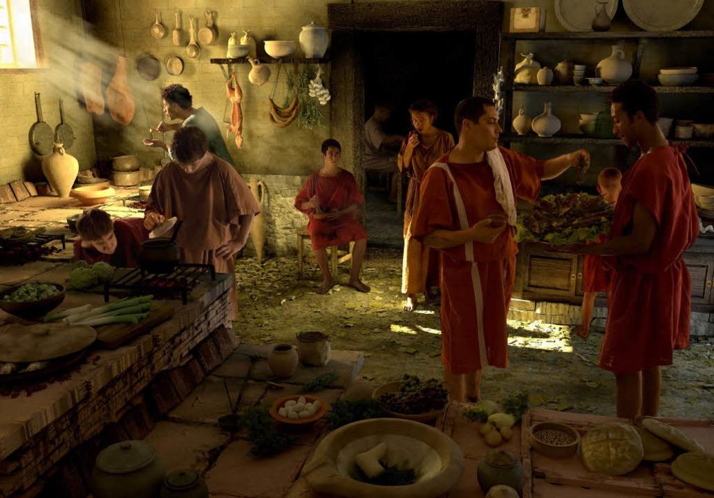 Digitale Archäologie: am PC rekonstrui...Küchenszene aus dem antiken Vindonissa  | Foto: Privat