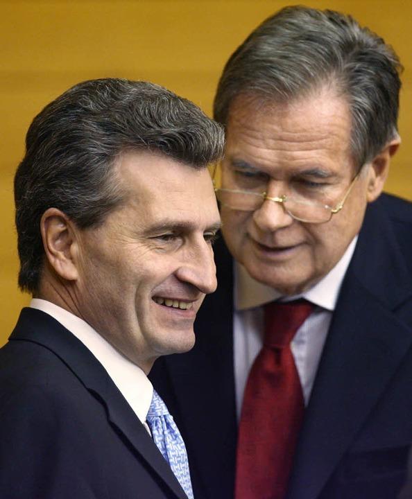 Oettinger   und Stratthaus   | Foto: dpa