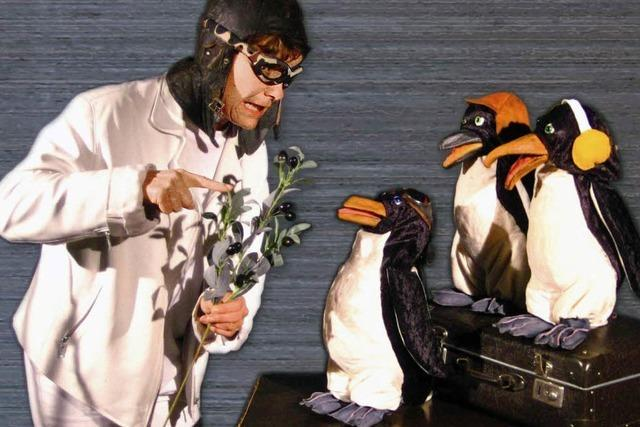 Drei Pinguine auf Noahs Kahn