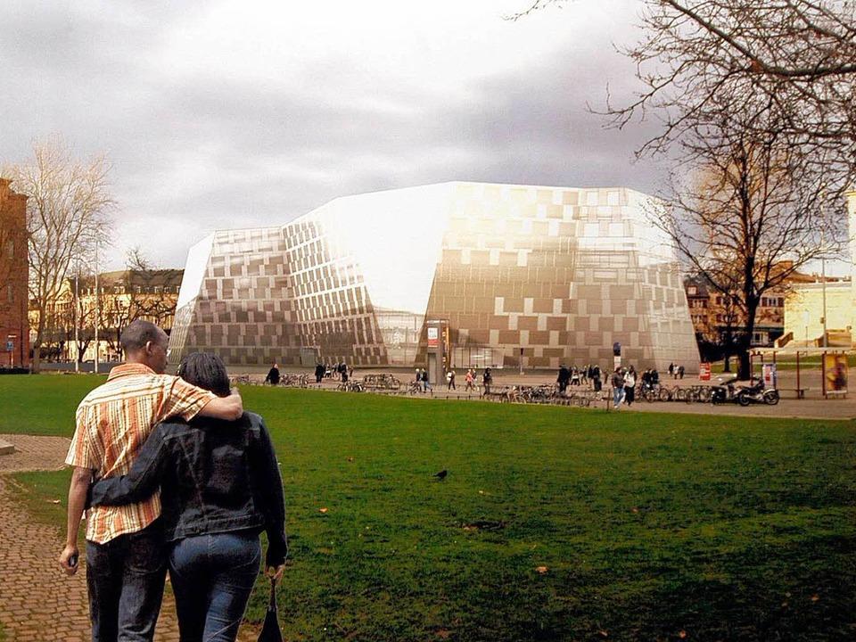 Geht es nach den Architekten, soll die...iothek nach der Sanierung so aussehen.  | Foto: Ingo Schneider