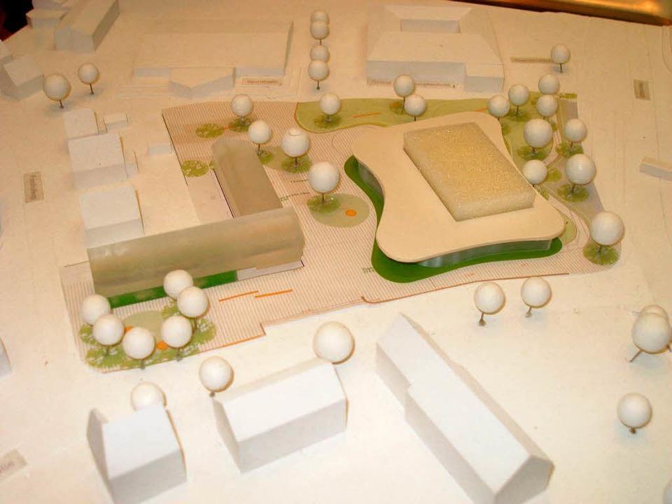 Das neue Bürgerhaus (rechts) und das W...ausens geplanter  Ortsmitte im Modell.  | Foto: Barbara Schmidt