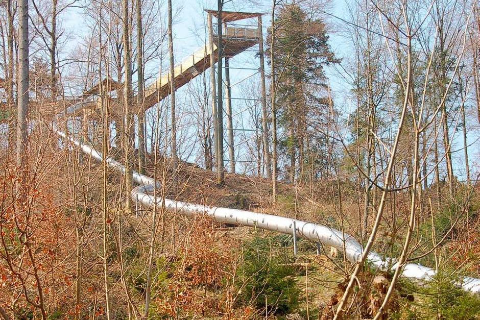 Baumkronenweg: höchste Plattform und Röhrenrutsche (Foto: Sylvia Timm)