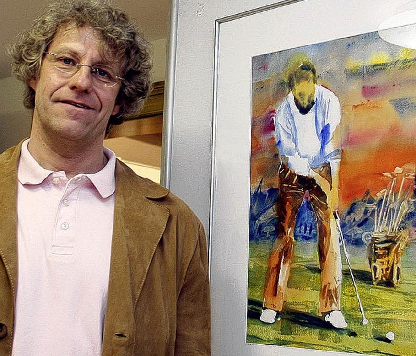 Rolf Monzel neben einem  Golfspieler, ...ugenblick zuvor den Ball berührt hat.   | Foto: heidi Fössel