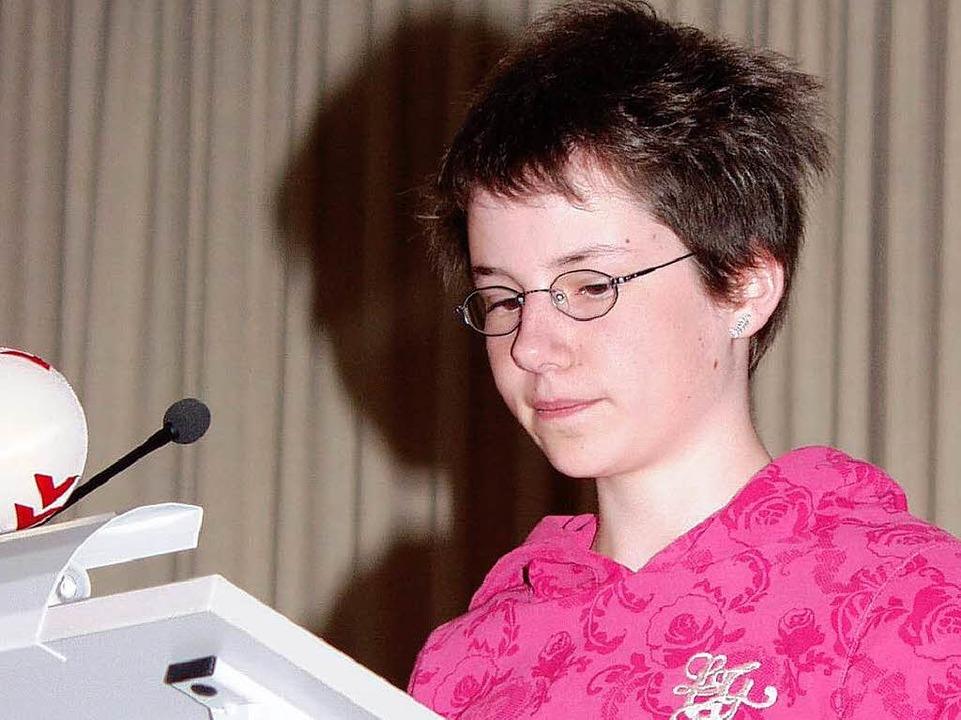 <Bildtext>Anerkennungspreise für &quot...ge Mädchen, hier Anna Hess.</Bildtext>  | Foto: Silke Hartenstein