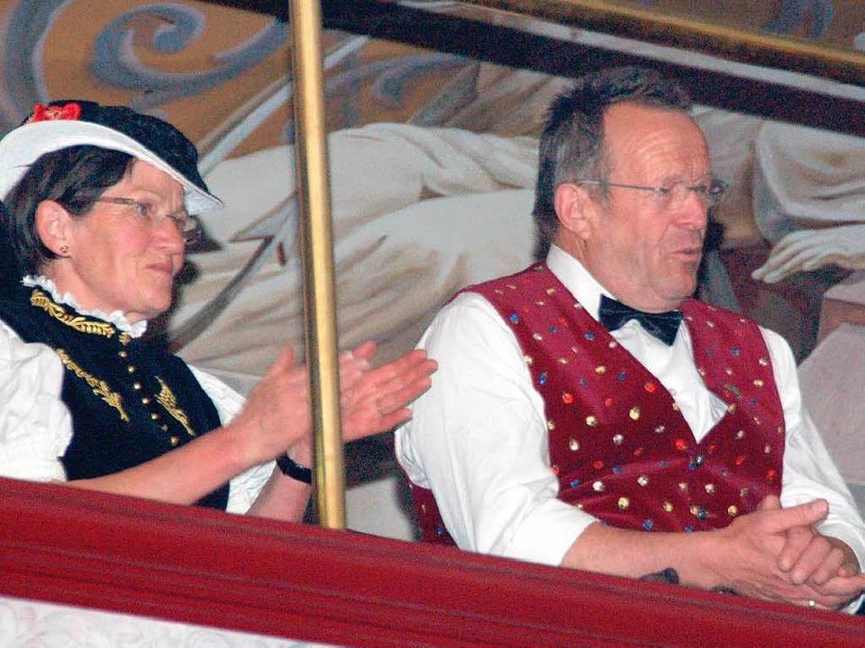 Die Eltern von Martin Wangler während des Auftrittes ihres Sohnes.  | Foto: Sebastian Barthmes