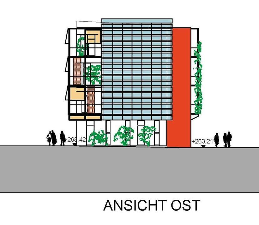 So sieht das Green Business Center des...hitekten Rolf Buschmann von Osten aus.    Foto: Benjamin Fillies