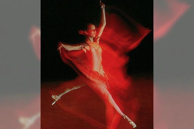 Ballerina und blütenzarter Betonblock