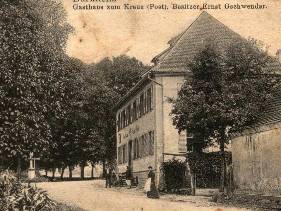 "Eine historische Postkarte vom Posthotel ""Kreuz-Post"" in Burkheim  | Foto: Repro Benjamin Bohn"