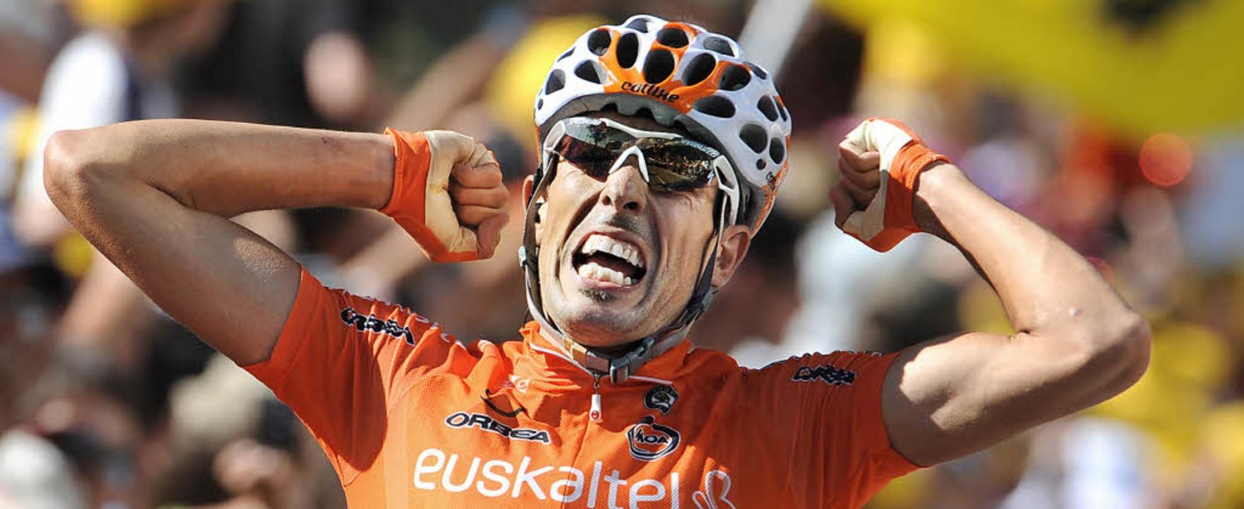 Mikel Astarloza, hier beim Gewinn der 16. Tour-Etappe vor elf Tagen    | Foto: AFP