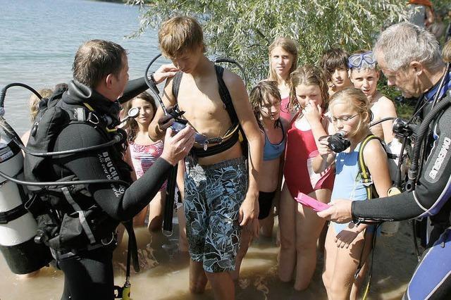Ein bissel Bammel vor dem Tauchgang im Matschelsee