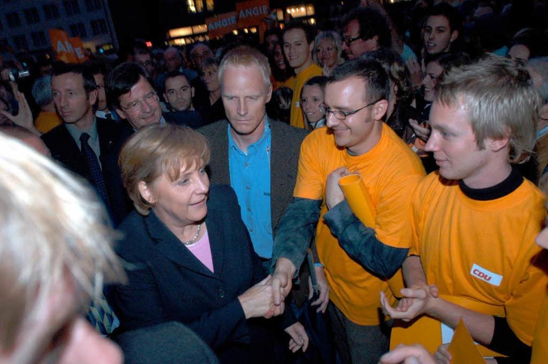 Angela Merkel als Kanzlerkandidatin im..., der für die Kanzlerin aber tabu ist.  | Foto: Ingo Schneider