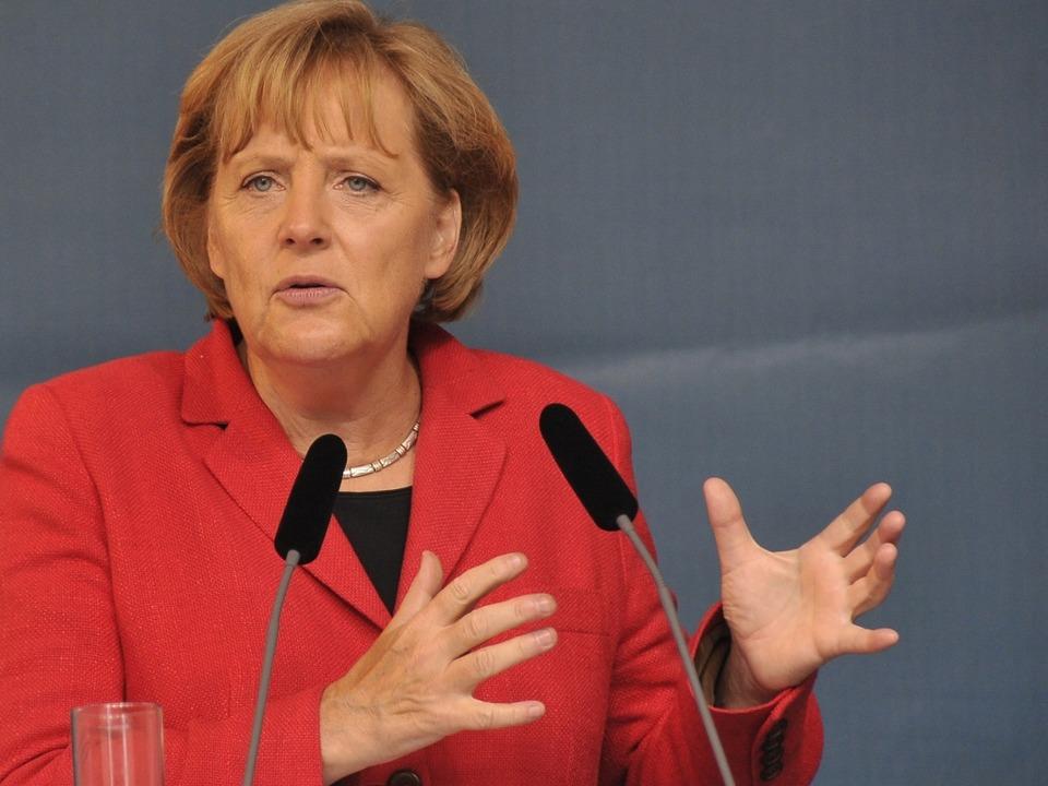 Angela Merkel macht in Freiburg Wahlkamof für die CDU.  | Foto: Ingo Schneider