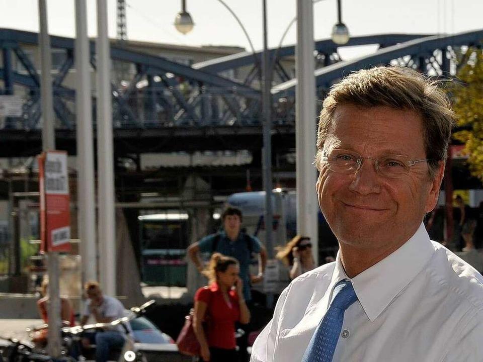 Guido Westerwelle in Freiburg.    Foto: Ingo Schneider