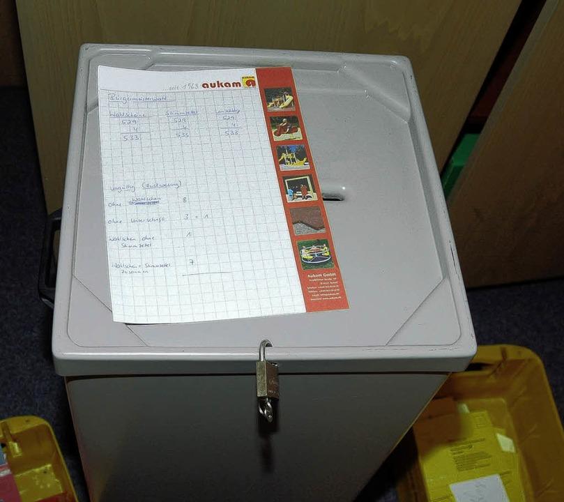 Wahlurne für Wahlurne mussten die Wahl...ntag öffnen und die Stimmen auszählen.  | Foto: gerold  zink