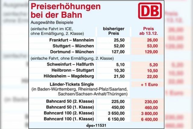 Bahn fahren wird teurer