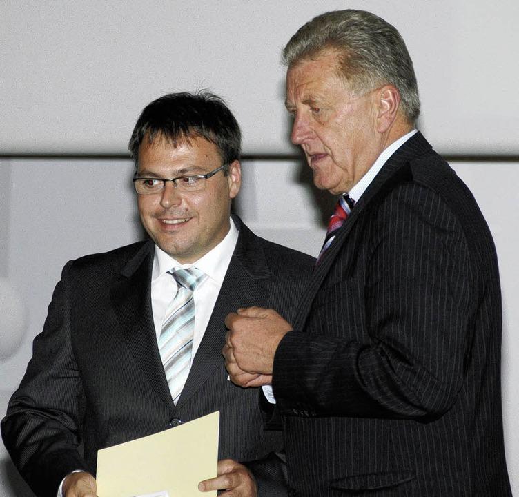 Zusammenlegung der Schulen im Oberen S...erberger  und Minister Ernst Pfister.   | Foto: ljd