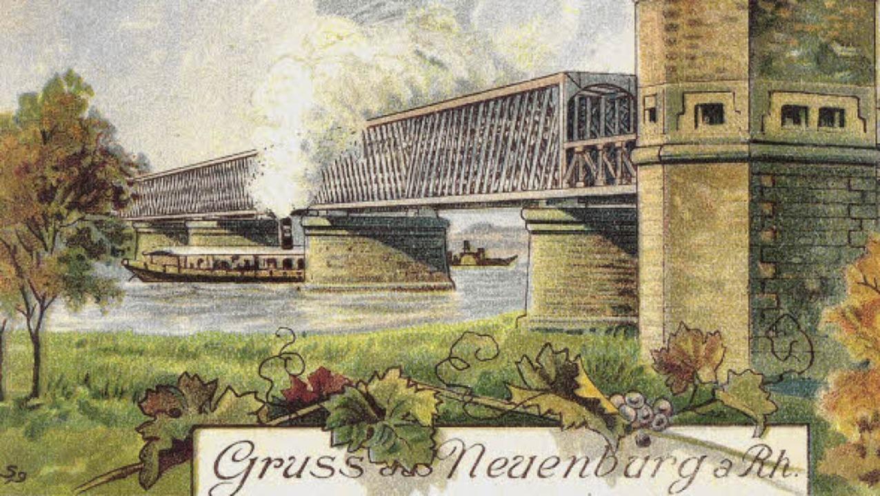 Ein Bild der Brücke aus besseren Tagen...ert  hat  sie  der Maler Otto Rümmele.  | Foto: Stadtarchiv Neuenburg am Rhein