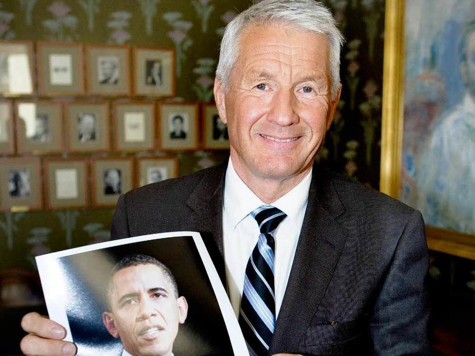 Der Vorsitzende des Nobelpreiskomitees...ch heftigem Streit auf Obama geeinigt.  | Foto: dpa