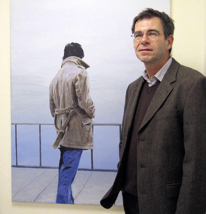 Jörg Hilfinger malte diese Rückenfigur mit Acrylfarben.     Foto: Dorothee Möller-Barbian