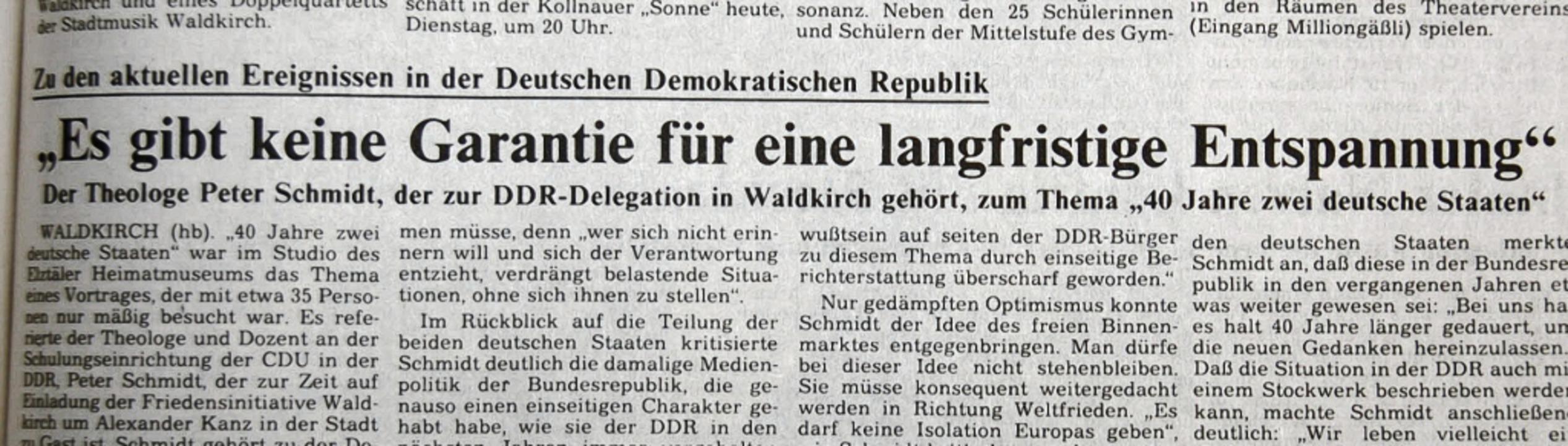 Ein BZ-Artikel über den Besuch einer G...dkirch erlebte, erschien am 14.11.89.   | Foto: Sylvia Timm